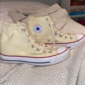 Pale Yellow High Top Converse